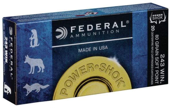 Federal .243 Win 80 gr Speer Hot Core SP Power Shok, 20 Schuss
