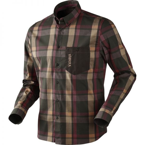 Härkila Amlet L/S Hemd ( Burgundy/ Brown check )