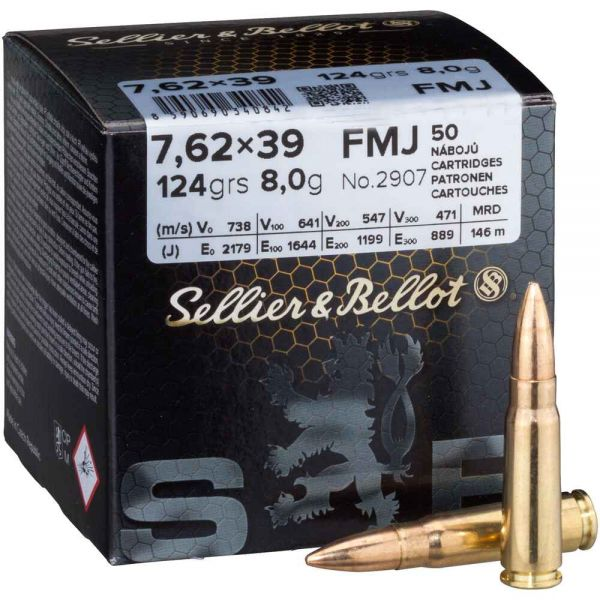 Sellier & Bellot 7,62x39 Vollmantel 124 grs, 50 Schuss